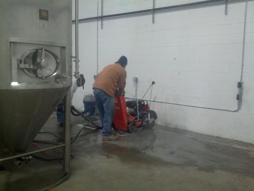 Cutting some concrete.