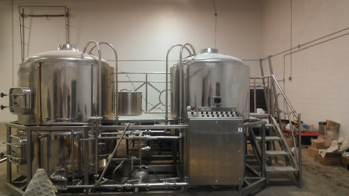 The brewhouse in its new home